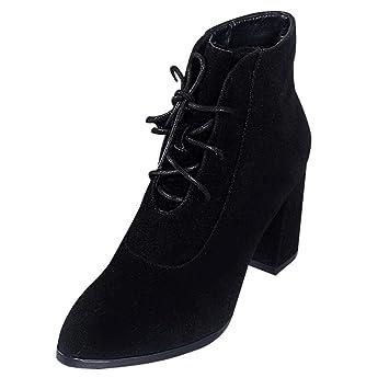 Logobeing Zapatos de Tacón Alto para Mujer de Punta Ancha Plataforma Bota de Cordones de Gamuza