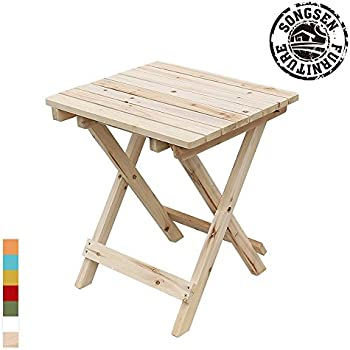 Songsen Outdoor Log Wood Adirondack Chair Fold Side Table Patio Deck Garden  Furniture   Natural