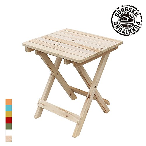 Songsen Outdoor Log Wood Adirondack Chair Fold Side Table Patio Deck Garden Furniture - Natural - Garden Furniture Foldable Wood
