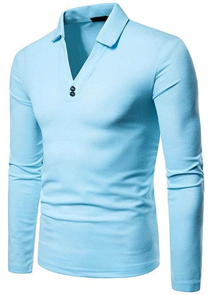 XiaoTianXinMen XTX Men Long Sleeve Breathable V-Neck Autumn Top Polo T-Shirts