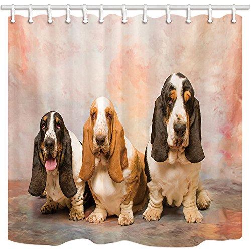 Animal Dog Shower Curtains, Three Basset Hound Dog,Interesting Three Doggy Bath Curtain, Polyester Fabric Bathroom Curtain with 12 Hooks, 69X70 Inches