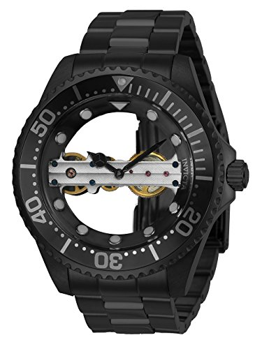 Invicta Men's Pro Diver Mechanical Watch with Stainless Steel Strap, Black, 22 (Model: 24697) (Bridge Watch Automatic)
