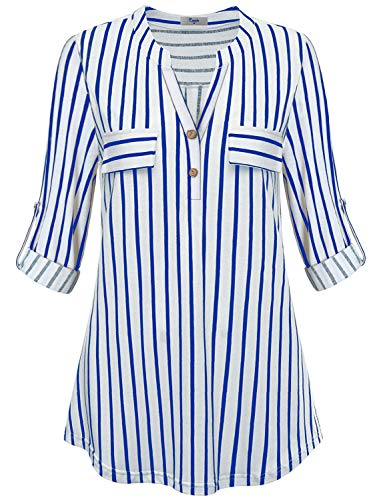 Cestyle Blue Striped Top Women,Henley Shirts for Women Roll Sleeve Button Detail V Neck Blouse Petite Stand Collar Fashion Easy Fit Cozy Leggings Tunics for Work Wear Loose Hem Weekend Outfits Large