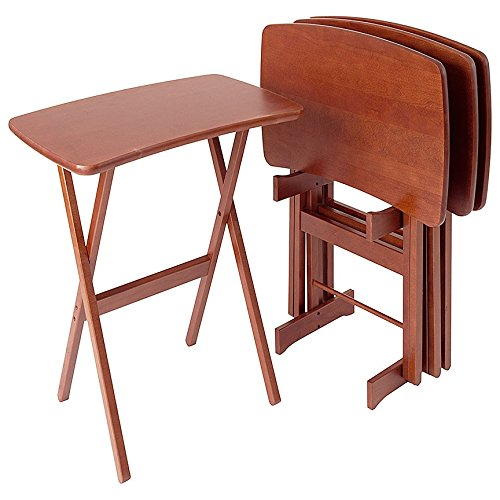 Amazon.com Manchester Wood Contemporary Cherry TV Tray Table Set of 4 - Heritage Cherry Kitchen \u0026 Dining  sc 1 st  Amazon.com : set of tray tables - pezcame.com