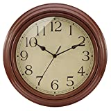 BELIFE Silent Non-Ticking Round Wall Clocks (12 Inches) Decorative Vintage Style Clock,Battery Operated with HD Glass Easy to Read for Indoor Decor (Coffee)