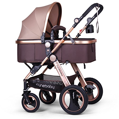 Infant Baby Stroller for Newborn and Toddler - Cynebaby Convertible Bassinet Stroller Compact Single Baby Carriage Toddler Seat Stroller Luxury Pram Stroller add Cup Holder Footmuff and Stroller Tray by cynebaby