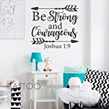 BATTOO Joshua 1:9 Be Strong And Courageous Wall Decal Quote- Religious Wall Decal- Scripture Wall Decal- Bible Verse Wall Decal Nursery Decor(Black, 24''WX22''H)