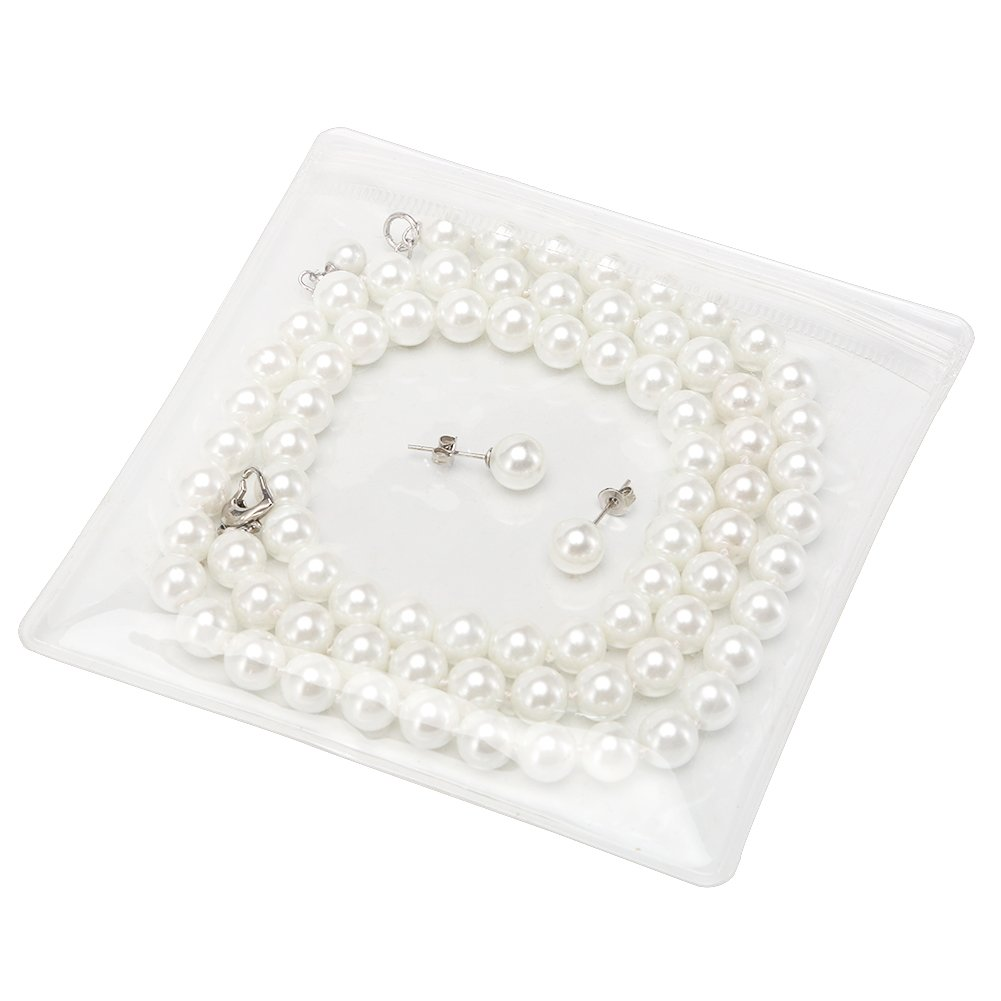 LEILE Hand Knotted Glass Imitation Pearls Necklace Bracelet Ear Studs 3 Piece Suit (White,8MM,20inch) by LEILE (Image #6)