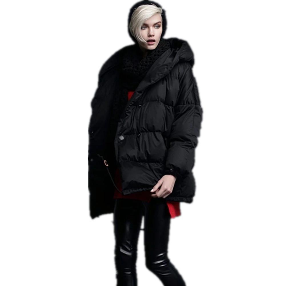 SHISHANG La chaqueta de señora abajo se espesa abajo chaqueta de perfil suelta invierno 95% abajo ne...