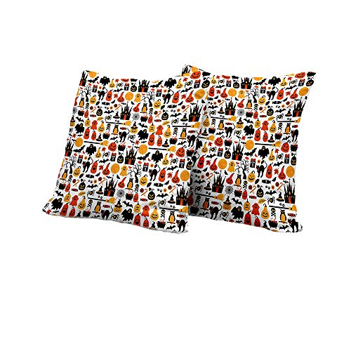 (All of better Pillowcase Halloween,Halloween Icons Collection Candies Owls Castles Ghosts October 31 Theme,Orange Yellow Black Square Euro Sham Cushion Cover 16x16 INCH)