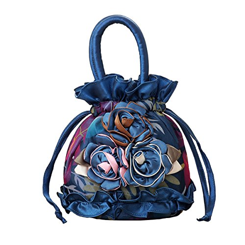 Womens Ladies Handbag Drawstring Bucket Bag Coin Purses Key Bags Cash Money Phone Pouches - Royal blue -