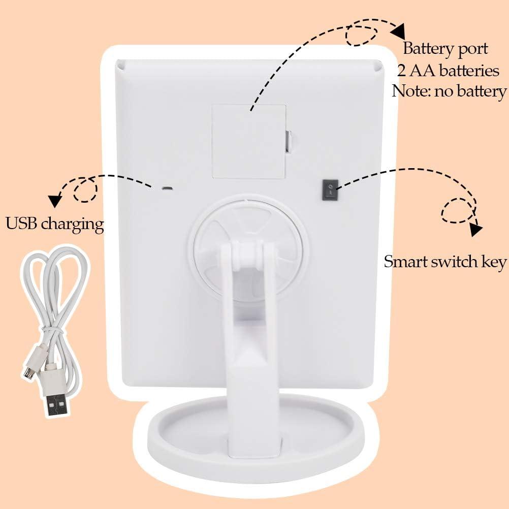 triple pliegue ATPWON Espejo de maquillaje con 22 LED espejo de aumento LED con rotaci/ón de 90 /°//180 /° para mujer 2 x 3 x espejos de cosm/ética con pantalla t/áctil blanco bater/ía y USB