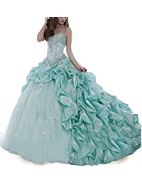 Womens Beading Organza Ruffles 2018 Quinceanera Dresses Mermaid Ball Prom Gowns for Sweet 16
