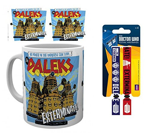 Set: Doctor Who, The Daleks Photo Coffee Mug (4x3 inches) and 1 Doctor Who, Wristband for Collectors (4x1 inches)