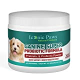 Iconic Paws Natural Products Prebiotic and Probiotic Powder for Dogs, Balance Gut Bacteria Support Digestion and Ease Gas Bloating and Diarrhea, Promotes Health Fights Anxiety Pet-Safe