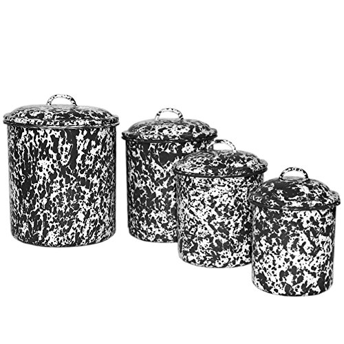 CGS Enamelware 4 Piece Canister Set - Black Marble