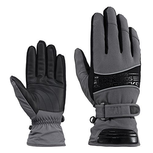 Rockbros Mens Winter Gloves Windproof Thermal Warm Winter Snow Ski Cycling Motorcycle Outsports Gloves Black Grey XL