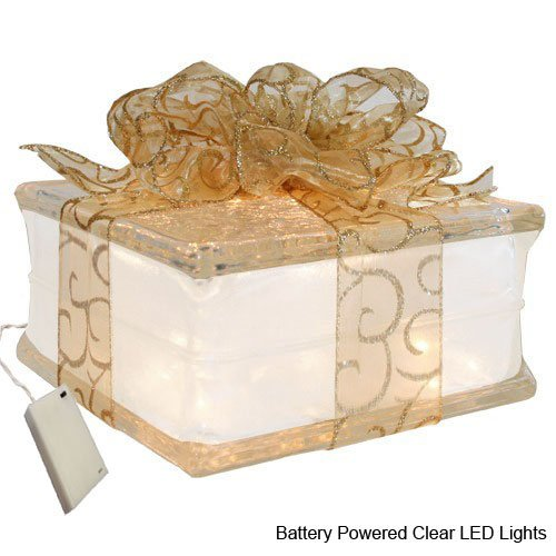 "TechnologyLK Battery Powered LED Lighted Glass Block with 4"" White Border - Sheer Gold Ribbon"