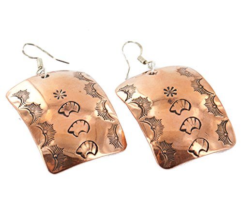 Native-Bay Handmade Authentic Bear Made by Delores Little Navajo Handstamped Pure Copper Dangle American Earrings