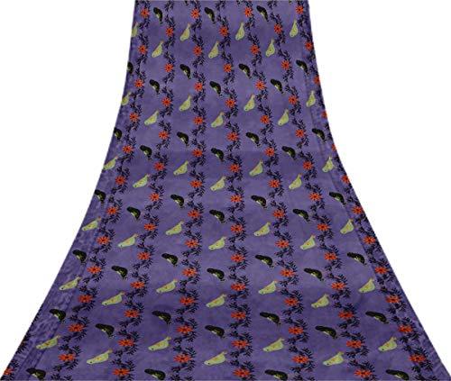 Svasti Leaves,Bird & Floral Clip Art VintageSilk Sari Medium Purple Dressmaking Refurbished Craft Fabric UsedSaree 5 Yard