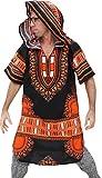 RaanPahMuang African Dashiki Long Urban Warlock Jacket Hood Hoody Fashion, Medium, Black With Orange