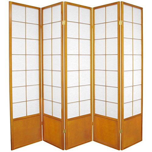 Oriental Furniture 6 ft. Tall Zen Shoji Screen - Honey - 5 Panels