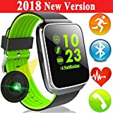 Woqoo Sport Fitness Tracker Smart Watch with Heart Rate Blood Pressure Monitor for Men Women Color Screen Outdoor Smartband Calories Pedometer Timer Music Player Sync Phone Calls SMS for Halloween