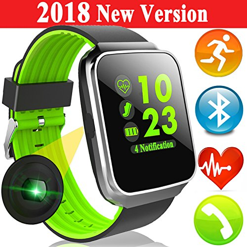 Smart Watch Fitness Tracker with Color Screen Heart Rate Blood Pressure Monitor Music Player for Men Women Kid Sport Smartwatch Calories Pedometer Sync Phone Calls SMS Gift Android iPhone by Woqoo