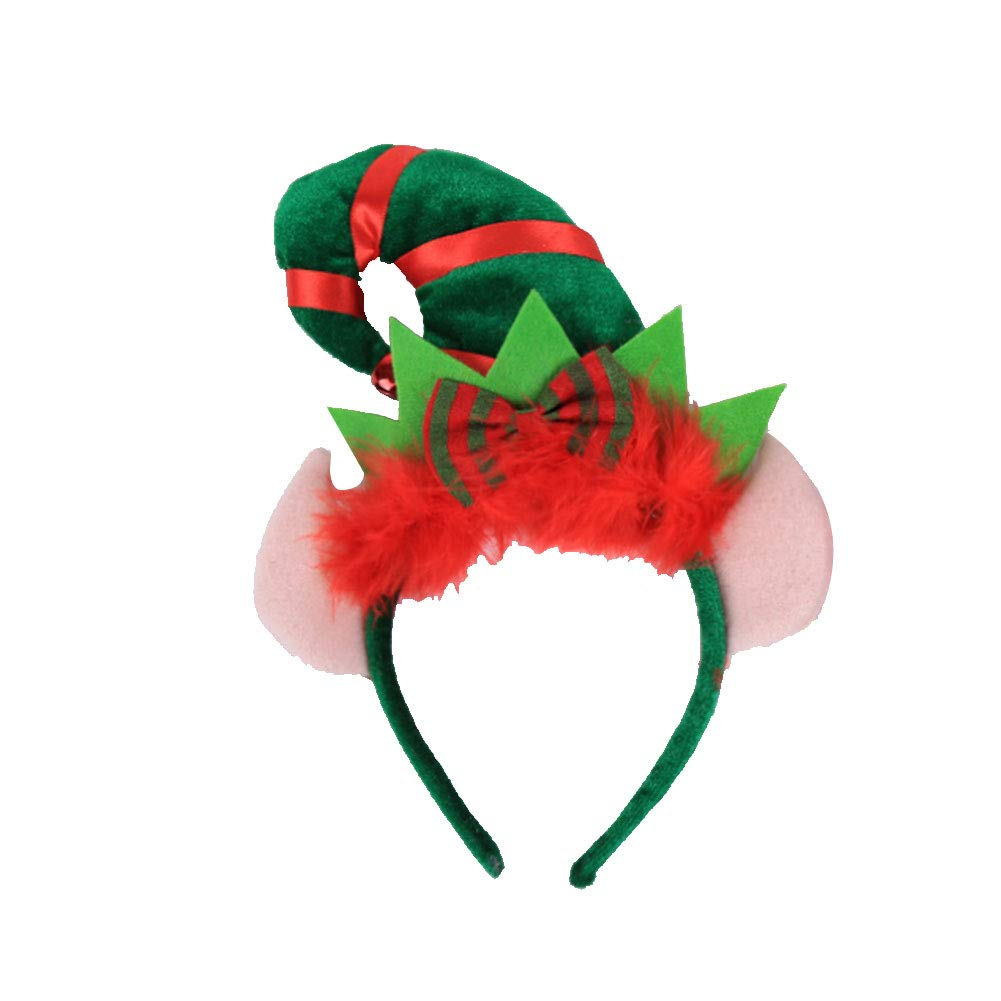 Christmas Hair Hoop Elf Pointed Hat Cap Headband With Feather Bowknot Cute Headband For Children Adult Hairband Decoration Christmas Ornaments B456b Style 2 Pcs