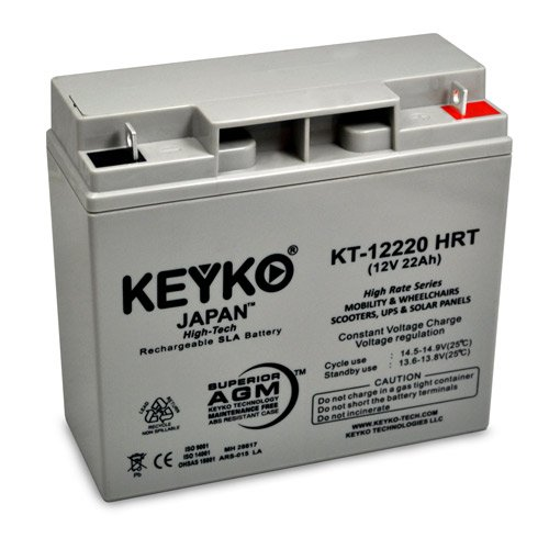 12V 22Ah Deep Cycle AGM / SLA Battery for Wheelchairs Scooters Mobility UPS & Solar - Genuine KEYKO - Nut & Bolt Terminal by KEYKO