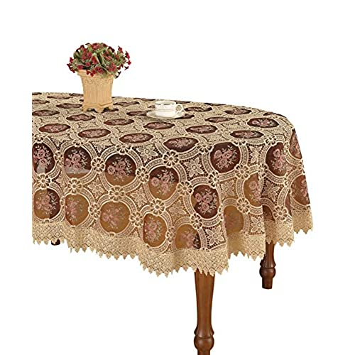 Simhomsen Vintage Burgundy Lace Tablecloth Embroidered Oval 60 By 84 Inch