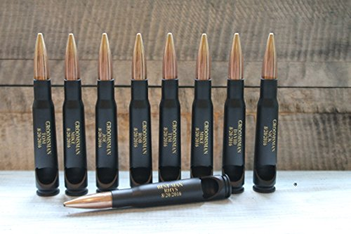 Engravable-Set of 7 or 9- Groomsman Gifts-50 Caliber® Black Powder Coated Military Bullet Bottle (Black Bottle Whisky)