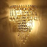 MOMO Luxury K9 Crystal Wall Lamp European Creative Living Room Lights Gold Led Bedside Lamps