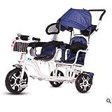 LovemyhomeDD Double Seats Tandem Tricycle Toddler Kids Pram Stroller Ride on Trike (White + Blue)