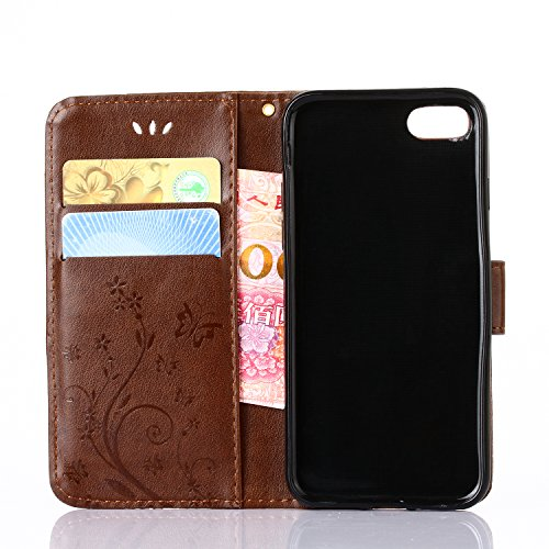 iPhone 7 Case, Urvoix Card Holder Stand Smooth Hand Feel PU Leather Wallet Case – Embossed Flower Butterfly Flip Cover For 4.7 versione iphone7 (Not for 7plus) Light Brown