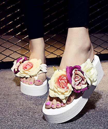 QZUnique Women's High Heel Platform Wedge Flip-Flops Beach Sandals Fashion Slipper Summer Thong