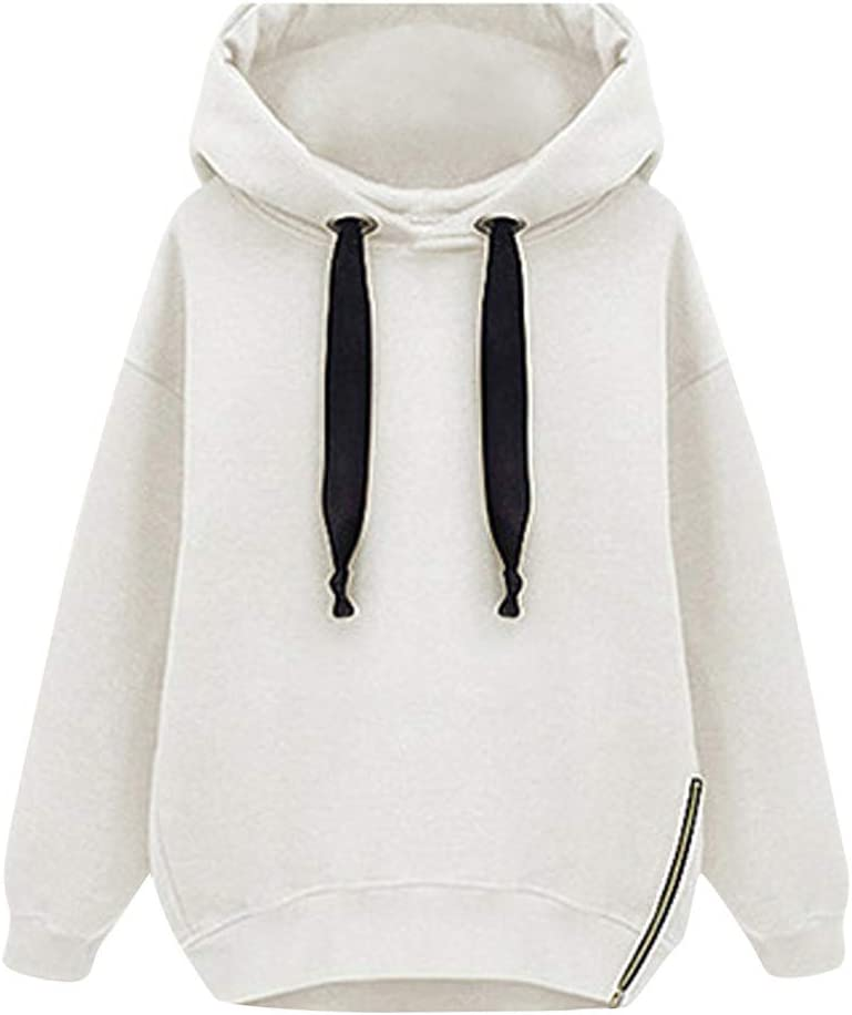 Solid Sweatshirts for Women Yezijin Europe and The United States Loose Long-Sleeved Hooded Thick Long Sweatshirt
