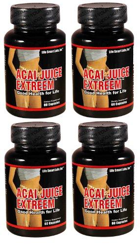 1300 Mg ACAI jus Extreem - (4 bouteilles) 240 CAPSULES PURE, 4 fois plus puissant pour chaque MG ACAI Berry Natural Nutrition, de l'énergie 4 bouteilles, 4 mois, jus d'açai extrême