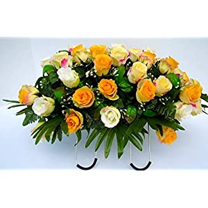 Cemetery Saddle Headstone Decoration with Cream and Yellow Roses for Summer Grave Decoration 78