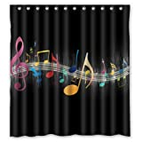 "Colorful Music Note Art Design Bathroom Mildew Proof Polyester Fabric 66"" x 72"" Inch Shower Curtain"