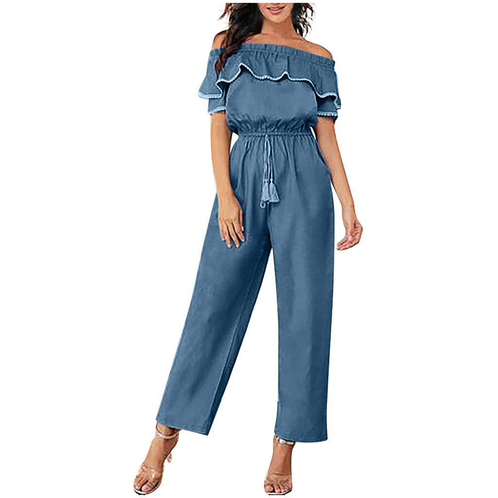 【HebeTop】 Women Off Shoulder Short Sleeve High Waist Long Wide Leg Pants Jumpsuit