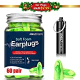 Ear Plugs AMAZKER Bell-Shaped 60 Pairs Ultra Soft Earplugs SNR-35dB Perfect for Sleeping Snoring Working Study Travel with Aluminum Carry Case No Cords Noise Reduction (AM-1006)