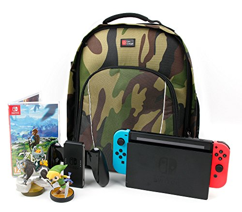DURAGADGET Camouflage Water-Resistant Backpack with Customizable Interior & Raincover - Compatible with Nintendo Switch (Console with Joy-Cons Attached) / Nintendo 2DS XL Pikachu Edition