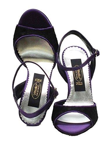 Black Raso Felipa e Dance Raso Macramè Viola Dance Nero Vitiello Macramè Shoes Shoes Women's Viola Tango Nero ZwYnPxYqt0