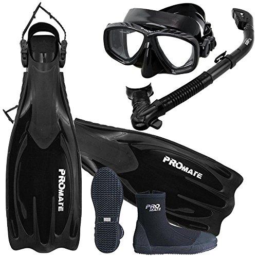 Mask Boots Fins Snorkel (Scuba Dive Fins Boots Dry Snorkel Mask Gear Set, AB, Mens 9 / Womens 10)