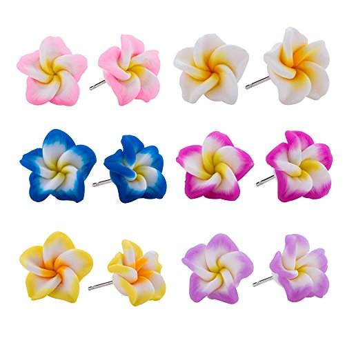 Hawaiian Foam Artificial Plumeria Earrings Set for Little Girls Kids- Flower Stud Earrings Made of Polymer Clay, Childrens Jewelry Set of 6