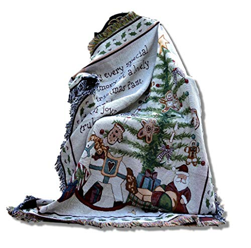 Tache White Christmas Morning Tree With Presents Woven Tapestry Throw Blanket 50
