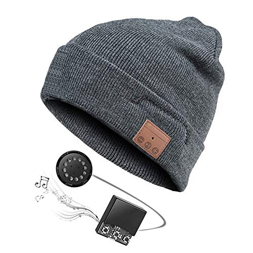 (Zibaar Bluetooth Beanie Bluetooth Hat Bluetooth Beanie Hat Headphone Beanie Combined with Bluetooth V4.1 Bluetooth Headset and Mic, Hands Free Talking for Mobile Phones,Unisex Charcoal)