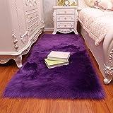 CHITONE Faux Fur Sheepskin Area Rug, Baby Bedroom Rugs Fluffy Rug Home Decorative Shaggy Rectangle Carpet, 2x3 Feet, Purple