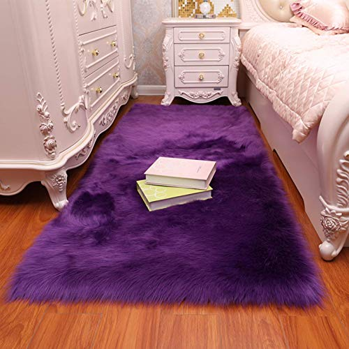(CHITONE Faux Fur Sheepskin Area Rug, Baby Bedroom Rugs Fluffy Rug Home Decorative Shaggy Rectangle Carpet, 2x3 Feet,)